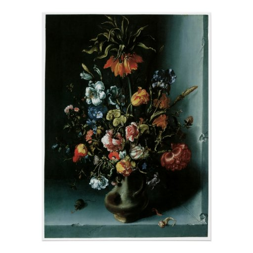 Still Life of Flowers with a Fritillary in a Niche Print