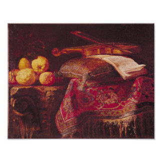 Still Life of Fruit and Musical Instruments Poster