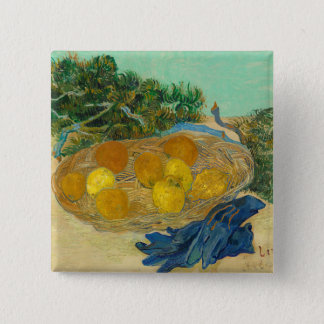 Still Life of Oranges and Lemons with Blue 2 Inch Square Button