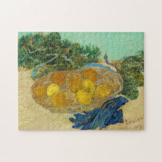 Still Life of Oranges and Lemons with Blue Jigsaw Puzzle