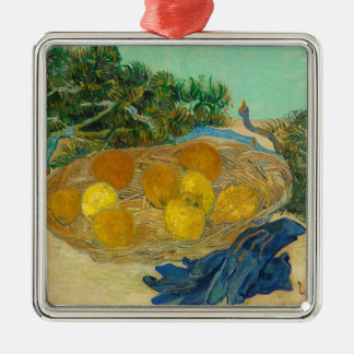 Still Life of Oranges and Lemons with Blue Metal Ornament