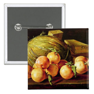 Still Life of Oranges, Melons and Boxes 2 Inch Square Button