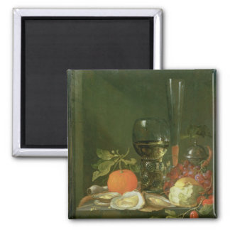 Still Life of Oysters, Grapes, Bread Square Magnet
