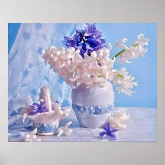 Still Life of Purple & Light Pink Hyacinths Poster