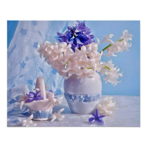 Still Life of Purple & Light Pink Hyacinths Poster