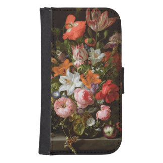 Still life of roses  lilies, tulips galaxy s4 wallet cases