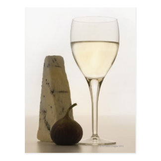 Still life of wine, cheese and fig postcard