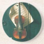 Still Life Old Violin, Harnett, Vintage Victorian Coasters