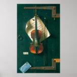 Still Life Old Violin, Harnett, Vintage Victorian Poster