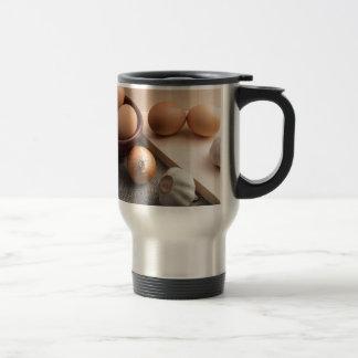 Still-life on the gray sacking travel mug