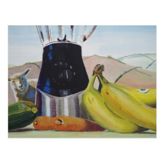 Still life painting fruit vegetables blender postcard