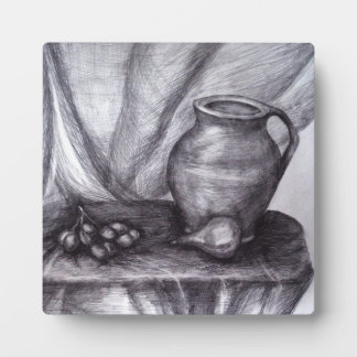 Still Life Pencil Drawing 5.25 x 5.25 with Easel Plaque