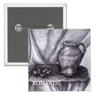 Still Life Pencil Drawing Badge 2 Inch Square Button