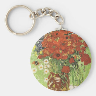 Still life - Red poppies and daises Keychain