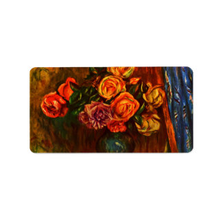 Still life roses before a blue curtain by Renoir