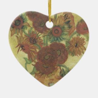 Still Life: Sunflowers Ceramic Heart Ornament