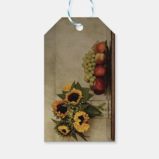 Still Life, Sunflowers in Vase, Fruit in Bowl Gift Tags