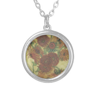 Still Life: Sunflowers Silver Plated Necklace