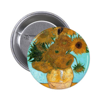 Still Life: Sunflowers - Vincent van Gogh 2 Inch Round Button