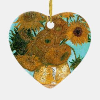Still Life: Sunflowers - Vincent van Gogh Ceramic Heart Ornament