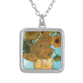 Still Life: Sunflowers - Vincent van Gogh Silver Plated Necklace