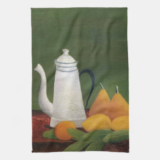Still Life Teapot & Fruit by Henri Rousseau Kitchen Towel