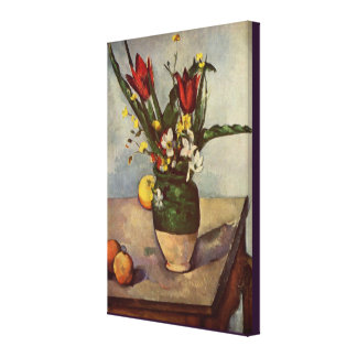 Still Life, Tulips, and Apples by Paul Cezanne Canvas Print