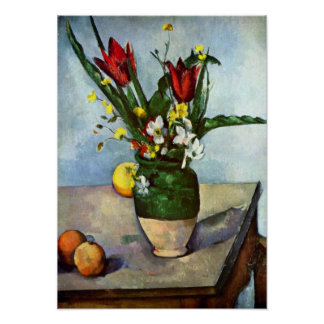 Still Life, Tulips and Apples by Paul Cezanne Poster