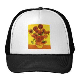 Still Life Vase with Fifteen Sunflowers -Van Gogh Trucker Hat