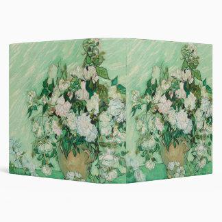 still life vase with pink ,white blue flower vinyl binder