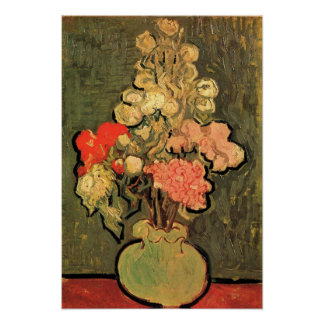 Still Life Vase With Rose Mallows by van Gogh 1890 Poster
