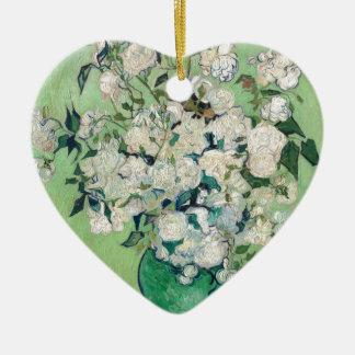Still Life: Vase with Roses - Vincent Van Gogh Ceramic Heart Ornament
