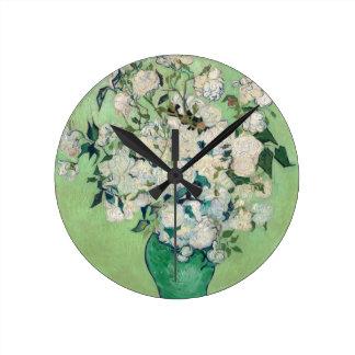 Still Life: Vase with Roses - Vincent Van Gogh Round Clock