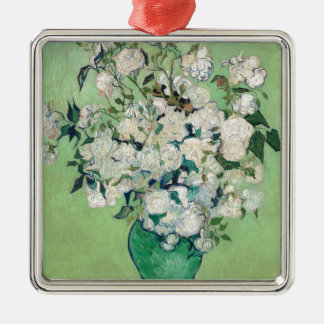 Still Life: Vase with Roses - Vincent Van Gogh Silver-Colored Square Ornament