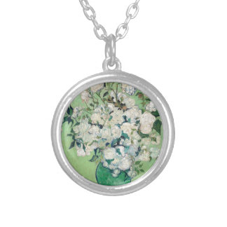 Still Life: Vase with Roses - Vincent Van Gogh Silver Plated Necklace