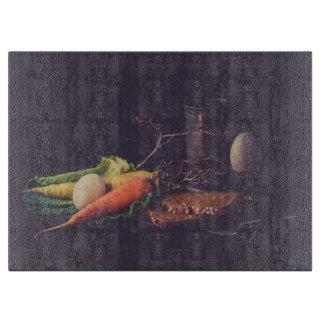 Still Life Vegetables Glass Cutting Board
