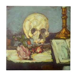 Still Life w Skull, Candle, Book By Paul Cezanne Tile