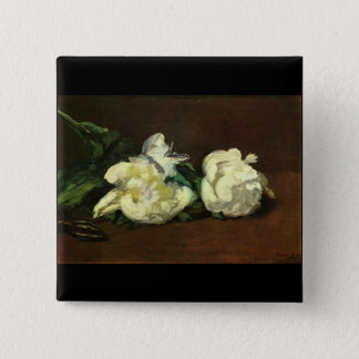 Still life, White Peony by Edouard Manet 2 Inch Square Button