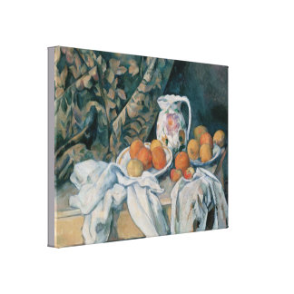 Still Life with a Curtain by Paul Cezanne Canvas Print