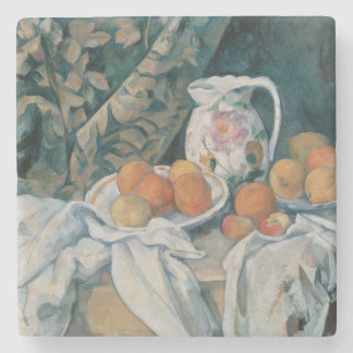 Still Life with a Curtain by Paul Cezanne Stone Coaster