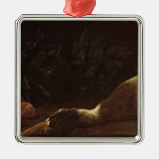 Still Life with a Duck, 1863 Silver-Colored Square Ornament