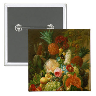 Still Life with a Melon and Grapes 2 Inch Square Button