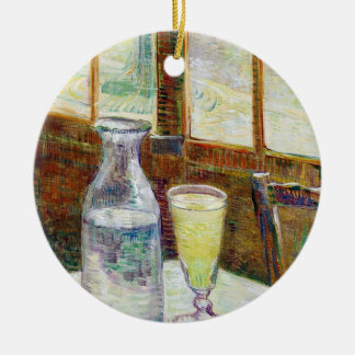 Still Life with Absinthe Vincent van Gogh paint Round Ceramic Ornament
