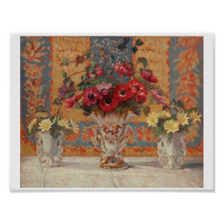 Still Life with Anemones by Ernest Moulines (1870- Poster