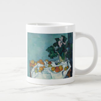 Still Life with Apples and a Pot of Primroses Large Coffee Mug