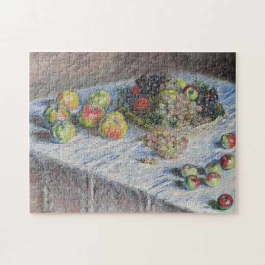 Still Life with Apples and Grapes Monet Fine Art Jigsaw Puzzle