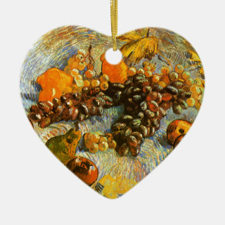 Still Life with Apples, Pears, Grapes - Van Gogh Ceramic Heart Ornament