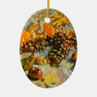 Still Life with Apples, Pears, Grapes - Van Gogh Ceramic Oval Ornament