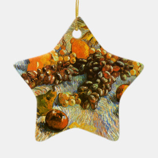 Still Life with Apples, Pears, Grapes - Van Gogh Ceramic Star Ornament