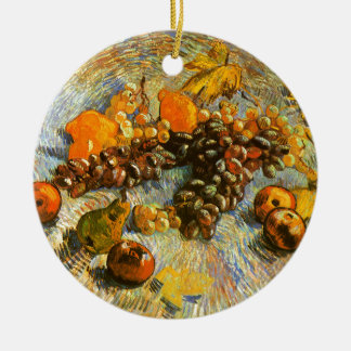 Still Life with Apples, Pears, Grapes - Van Gogh Round Ceramic Ornament